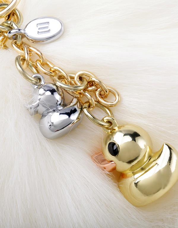 bagcharm duck pompom white gold metalmorphose mtm187 14