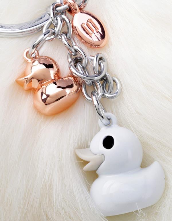 bagcharm duck pompom white gold metalmorphose mtm187 15
