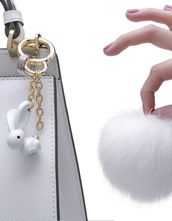 bagcharm rabbit pompom white metalmorphose mtm186 7