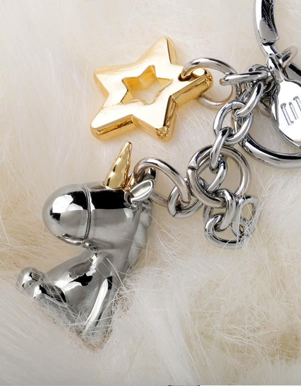 bagcharm unicorn 3D pompom silver metalmorphose mtm183 7