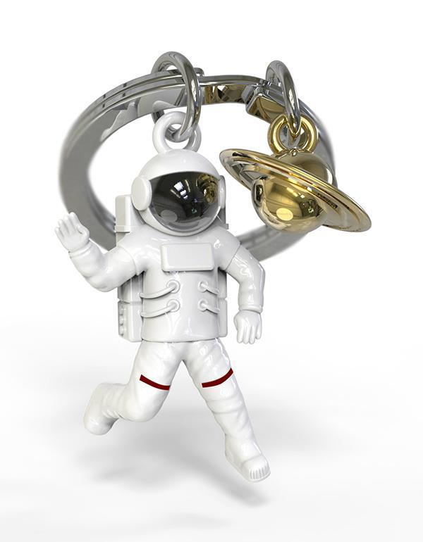 keyring astronaut saturn white metalmorphose mtm202 3