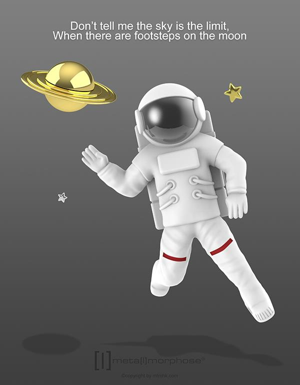 keyring astronaut saturn white metalmorphose mtm202 4