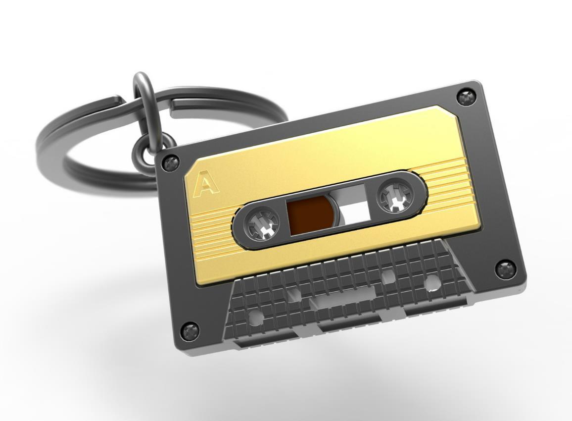 keyring audiotape gold black metalmorphose mtm219 1