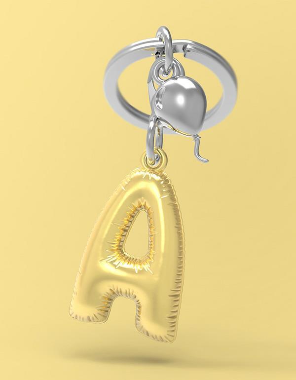 keyring balloon letter A party gold metalmorphose mtm10a 4