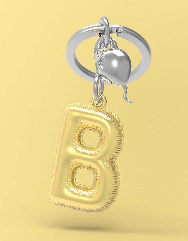 keyring balloon letter B party gold metalmorphose mtm10b 4