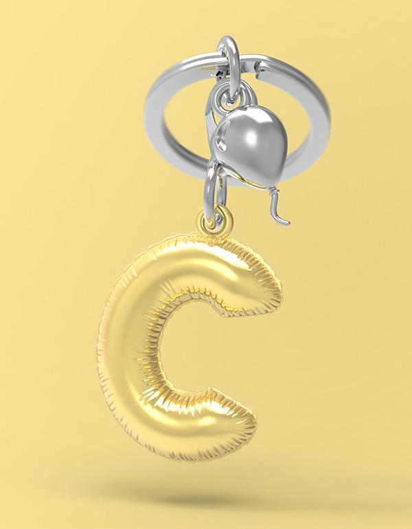 keyring balloon letter C party gold metalmorphose mtm10c 4