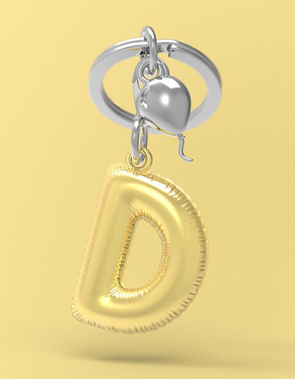 keyring balloon letter D party gold metalmorphose mtm10d 4