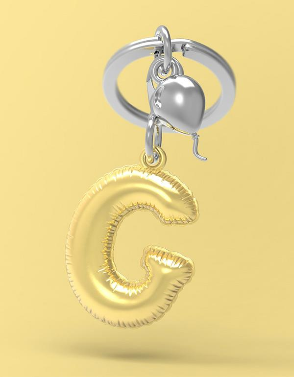 keyring balloon letter G party gold metalmorphose mtm10g 4