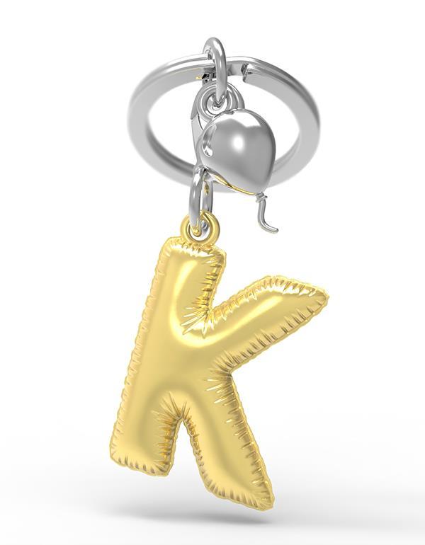 keyring balloon letter K party gold metalmorphose mtm10k 3