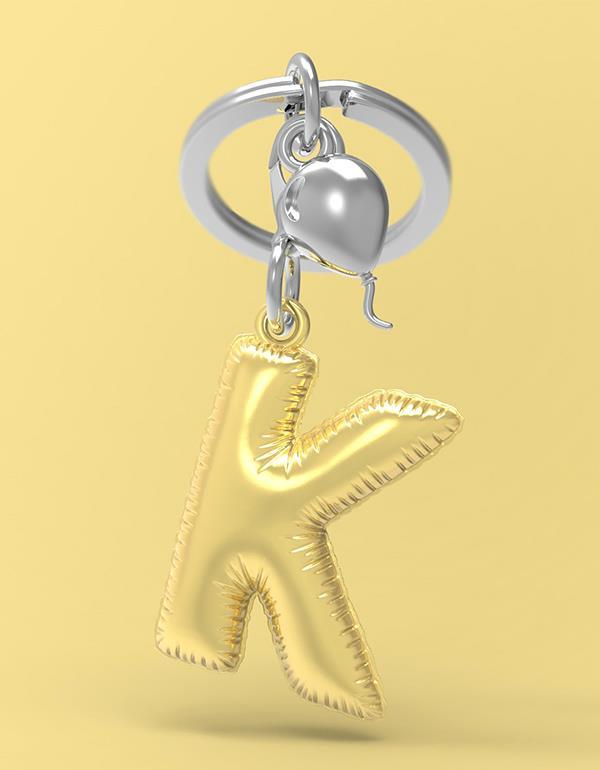 keyring balloon letter K party gold metalmorphose mtm10k 4