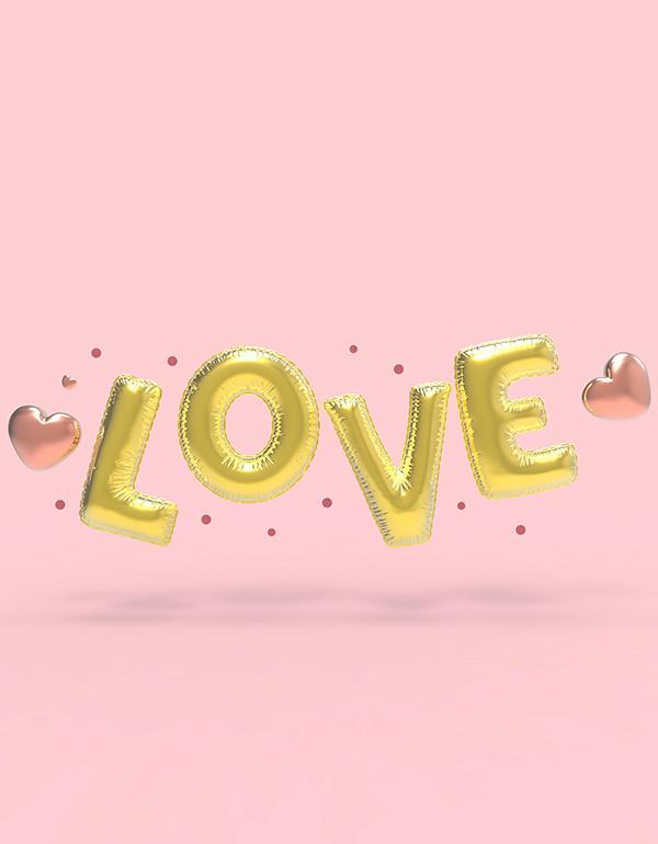 keyring balloon letter LOVE party gold metalmorphose mtm10 love