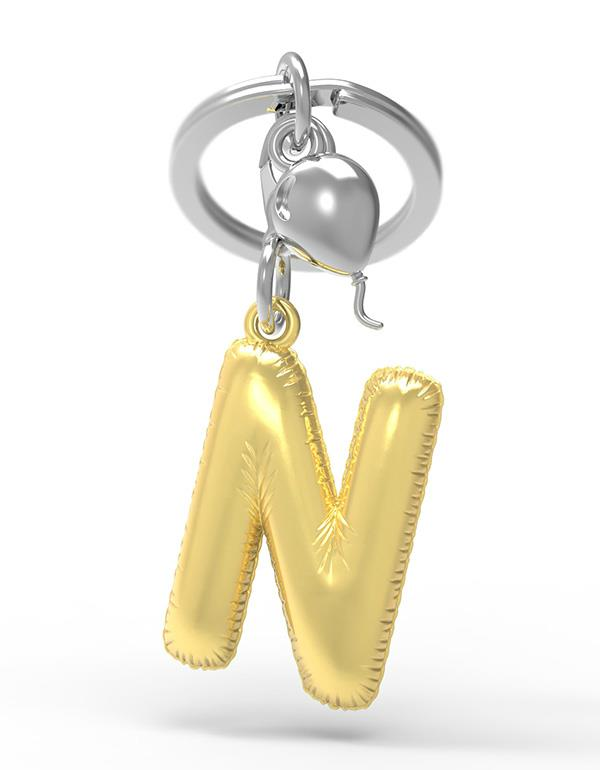 keyring balloon letter N party gold metalmorphose mtm10n 3