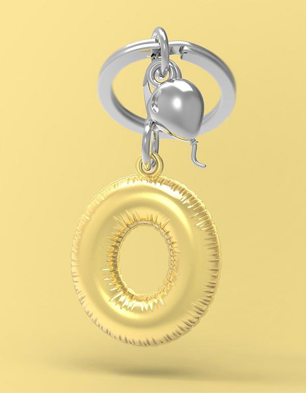 keyring balloon letter O party gold metalmorphose mtm10o 4