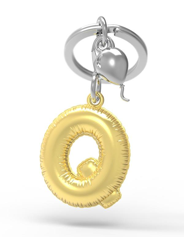 keyring balloon letter Q party gold metalmorphose mtm10q 3