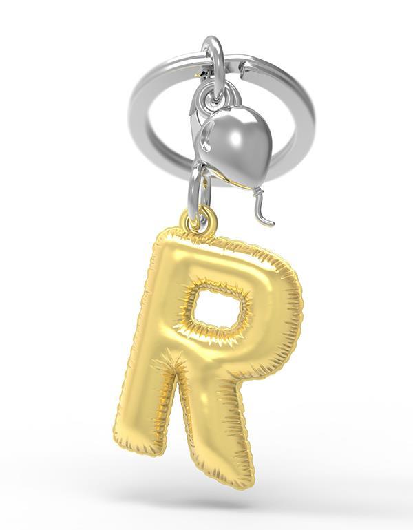 keyring balloon letter R party gold metalmorphose mtm10r 3
