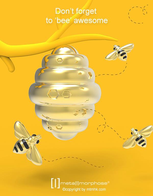 keyring bee gold metalmorphose mtm276 3