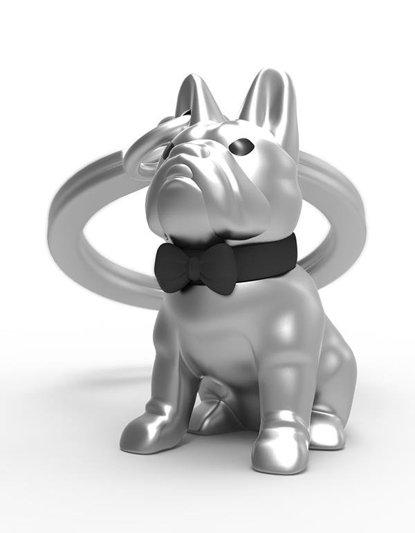 keyring bulldog silver black metalmorphose mtm253 4