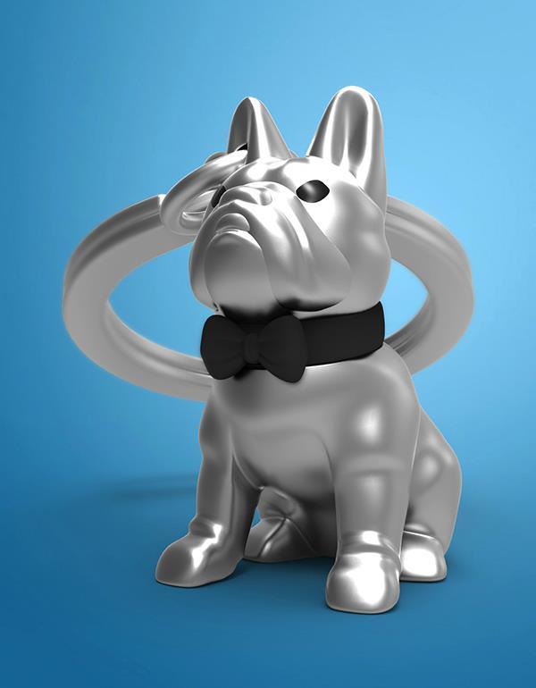 keyring bulldog silver black metalmorphose mtm253 7