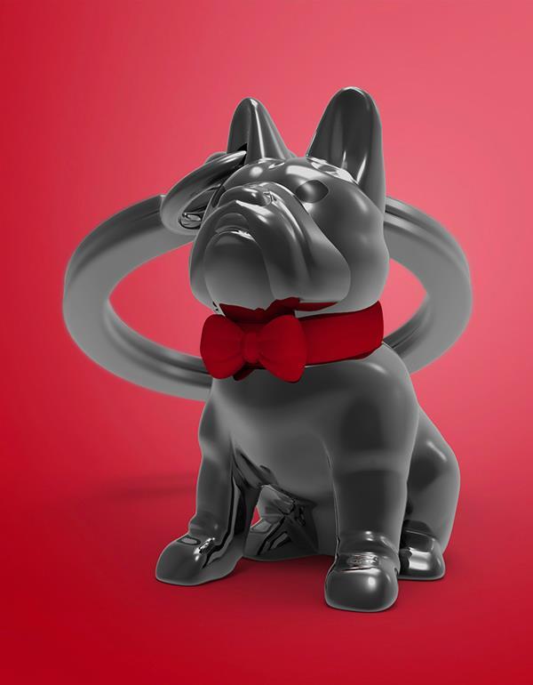 keyring bulldog silver black metalmorphose mtm253 8