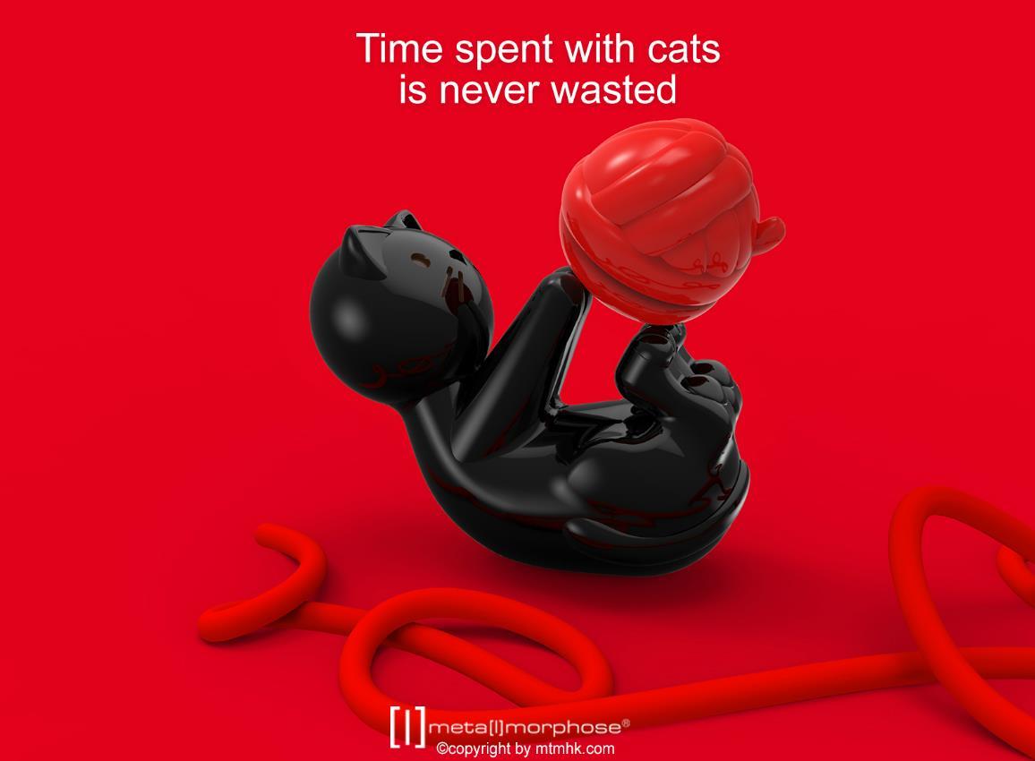 keyring cat white black metalmorphose mtm189 12