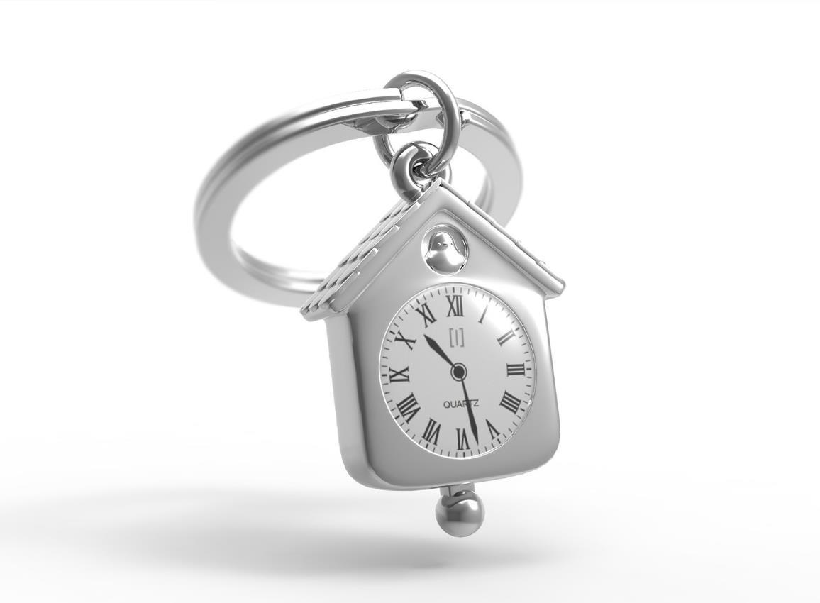 keyring clock house silver pink red metalmorphose mtm123 10