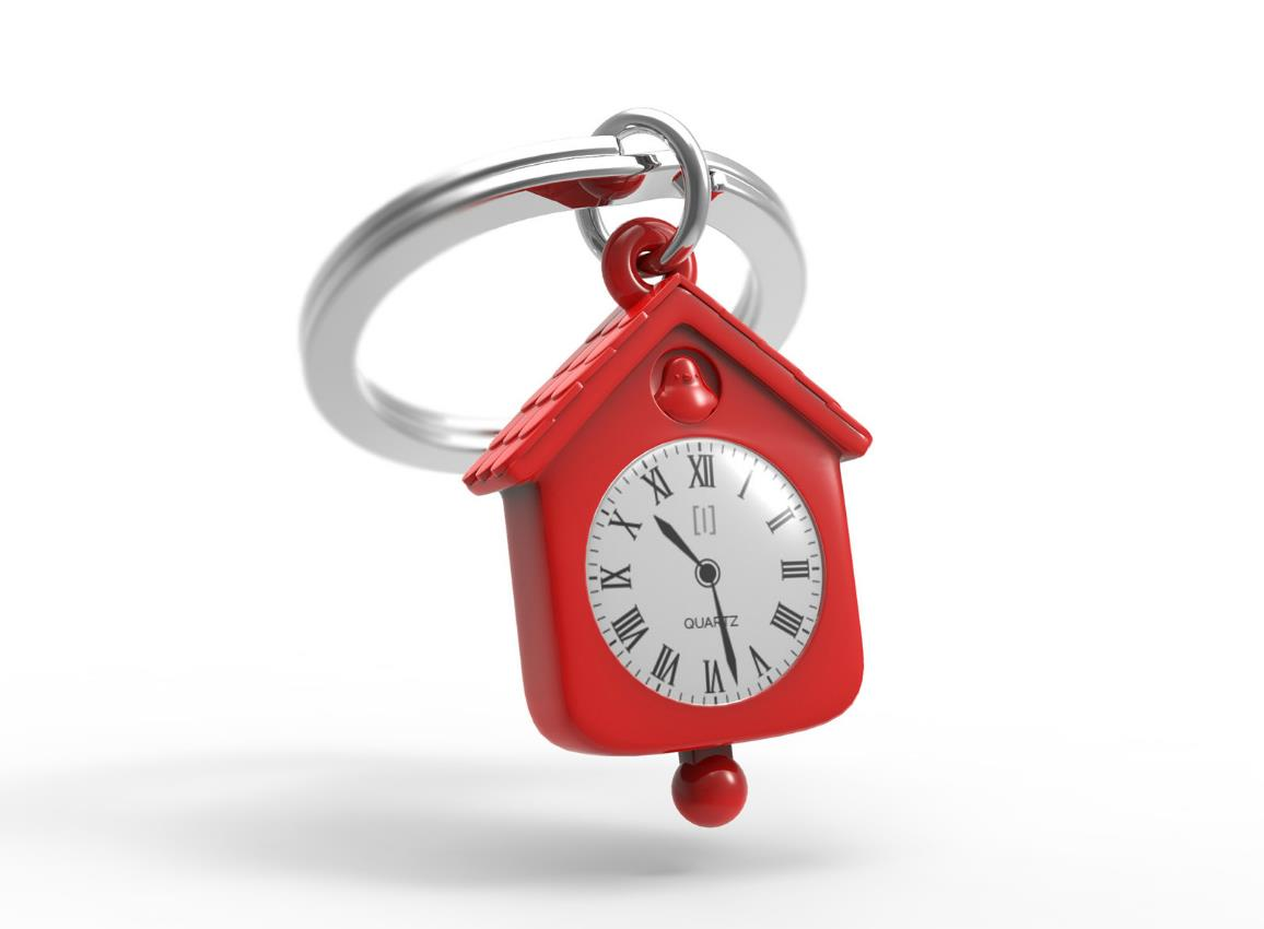 keyring clock house silver pink red metalmorphose mtm123 11
