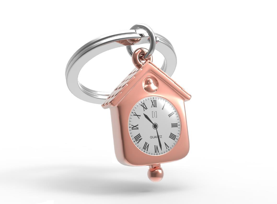keyring clock house silver pink red metalmorphose mtm123 12