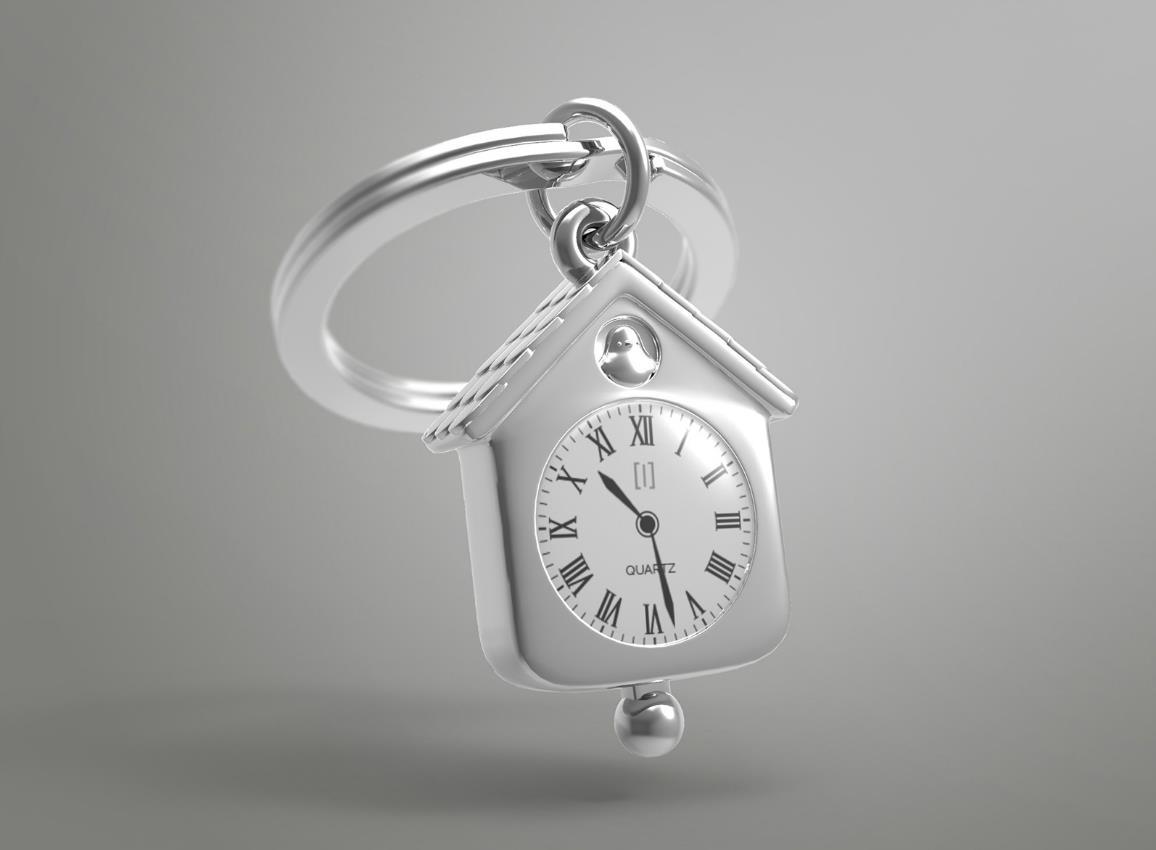 keyring clock house silver pink red metalmorphose mtm123 8