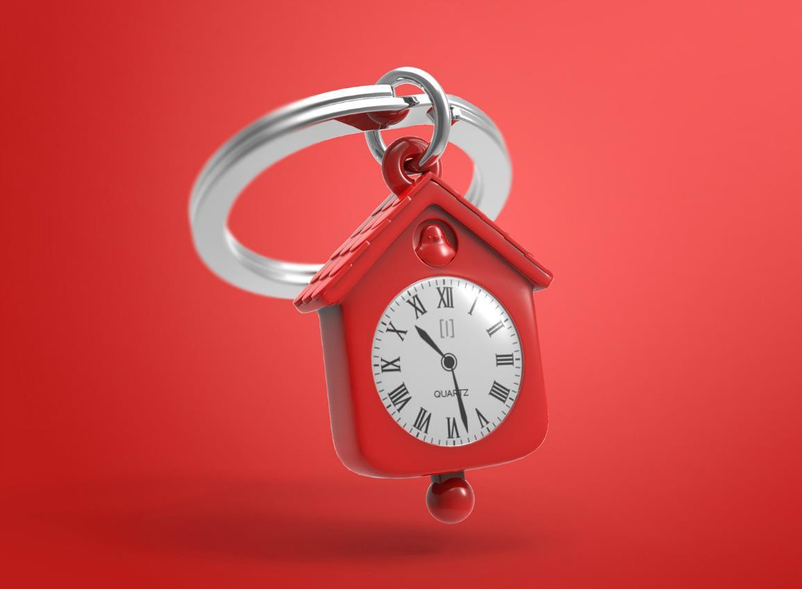 keyring clock house silver pink red metalmorphose mtm123 9