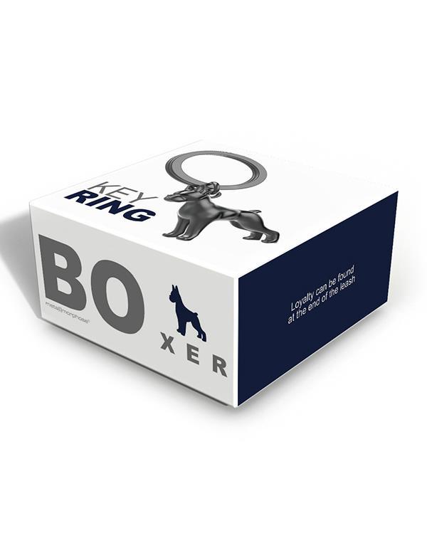 keyring dog boxer silver black metalmorphose mtm252 3