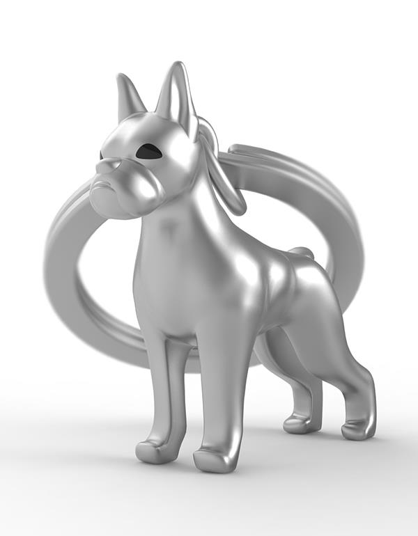 keyring dog boxer silver black metalmorphose mtm252 4