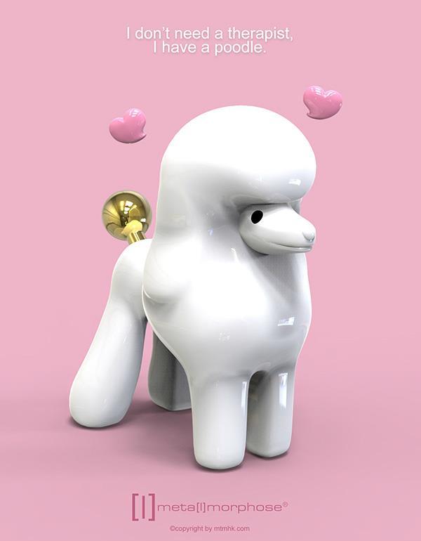 keyring dog poodle white silver metalmorphose mtm255 6