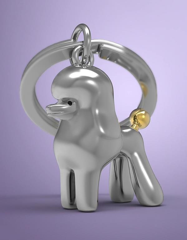 keyring dog poodle white silver metalmorphose mtm255 8