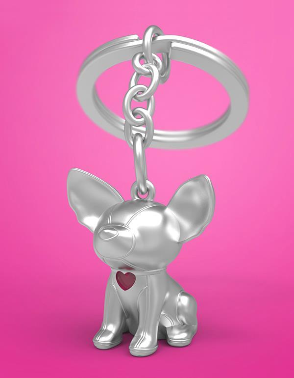 keyring dog whaawhaa silver metalmorphose mtm902 4