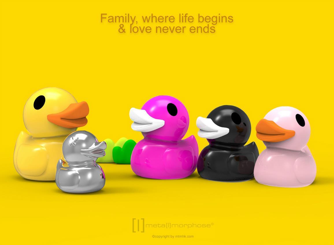 keyring duck family yellow black fuchsia pink metalmorphose mtm925 9