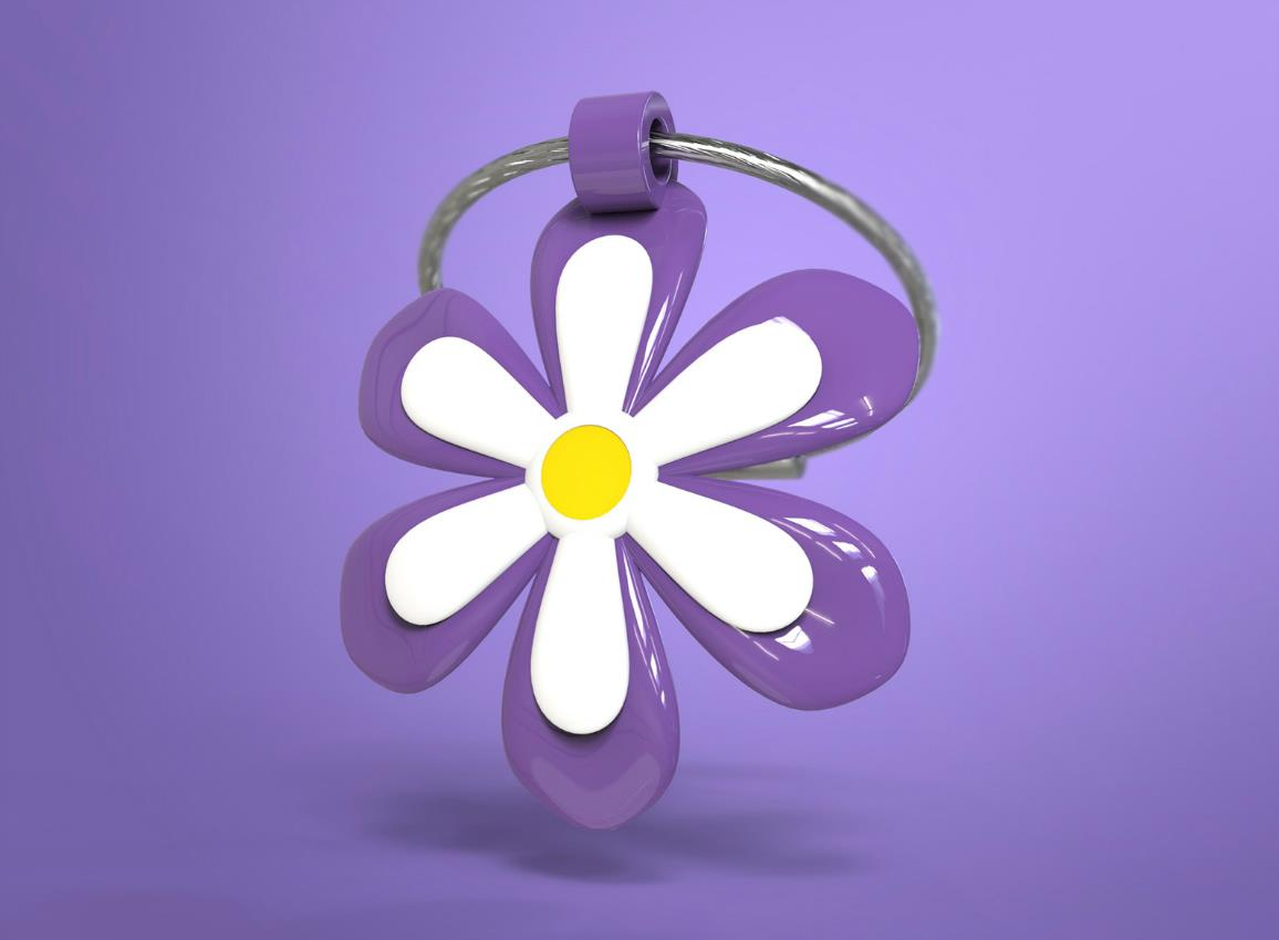 keyring flower purple yellow pink metalmorphose mtm108 9