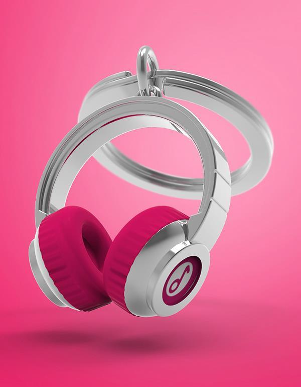 keyring headphone black pink metalmorphose mtm074 12