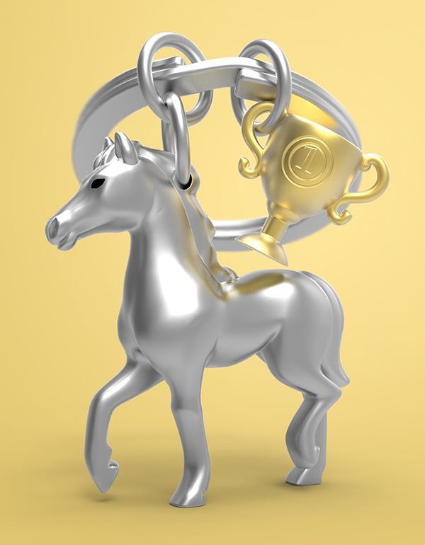 keyring horse trophee black silver gold metalmorphose mtm235 6
