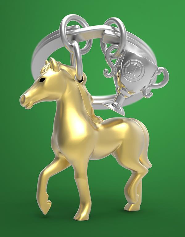 keyring horse trophee black silver gold metalmorphose mtm235 8