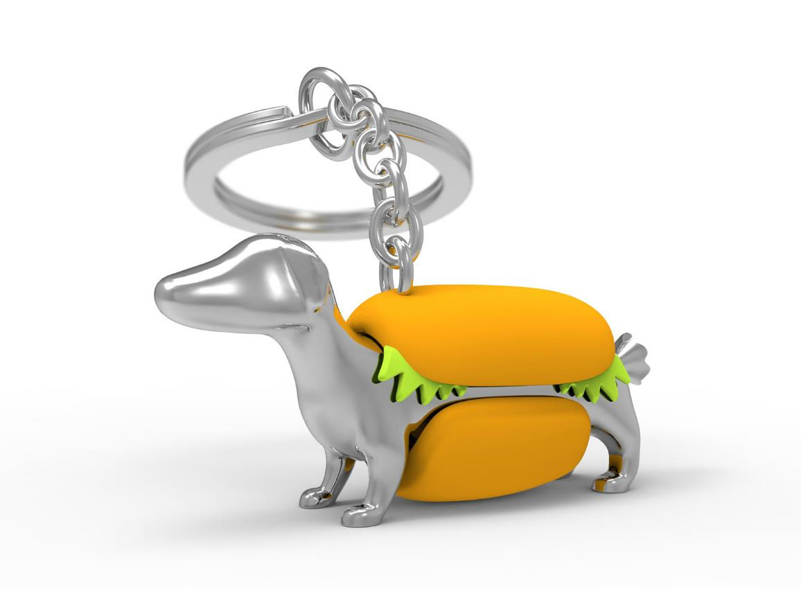 keyring hotdog silver metalmorphose mtm907 3