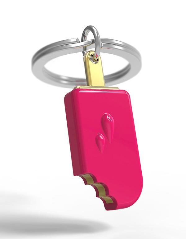 keyring icecream brown pink white metalmorphose mtm086 6