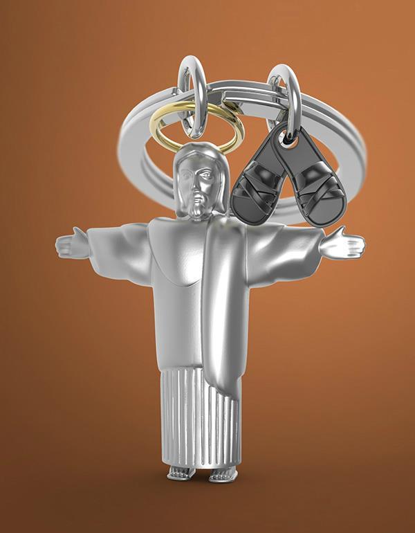 keyring jesus silver metalmorphose mtm211 5