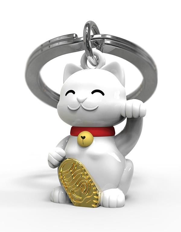 keyring lucky cat white metalmorphose mtm226 3