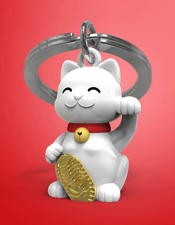 keyring lucky cat white metalmorphose mtm226 5