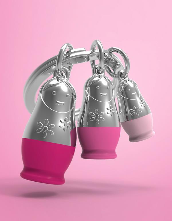 keyring matryoshka pink metalmorphose mtm087 5