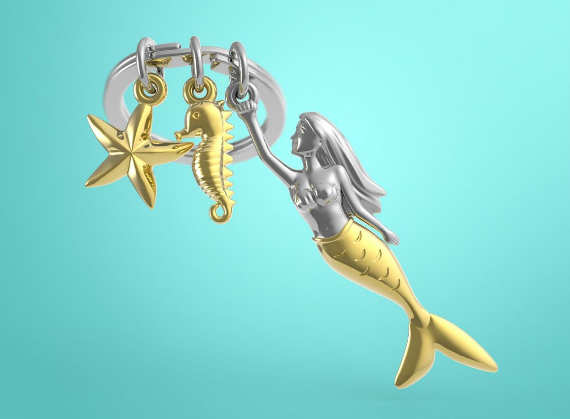 keyring mermaid gold metalmorphose mtm121 6