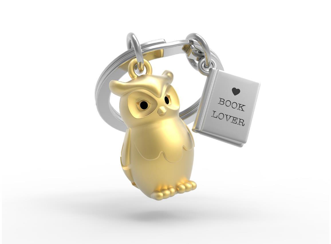 keyring owl book gold metalmorphose mtm279 1