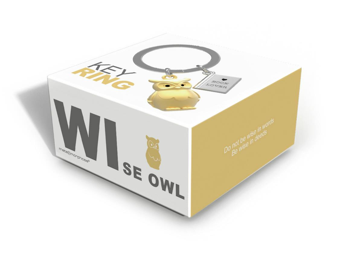 keyring owl book gold metalmorphose mtm279 2