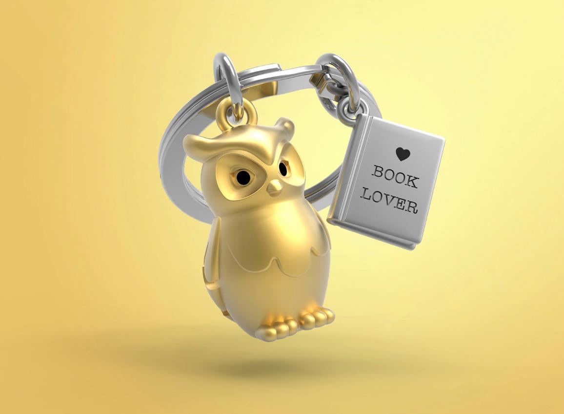 keyring owl book gold metalmorphose mtm279 4