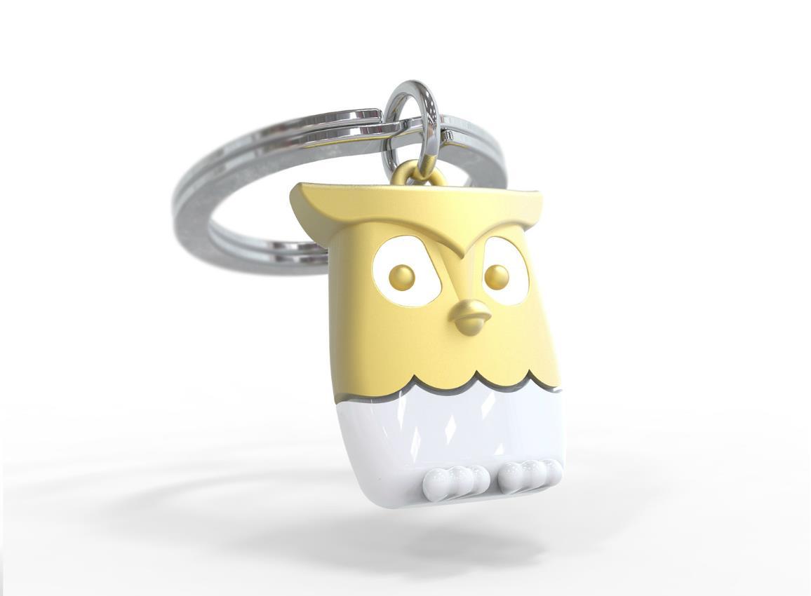 keyring owl gold pink blue metalmorphose mtm064 7